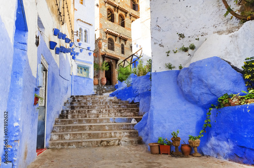 Wall Murals Narrow alley Medina of Chefchaouen, Morocco, Africa