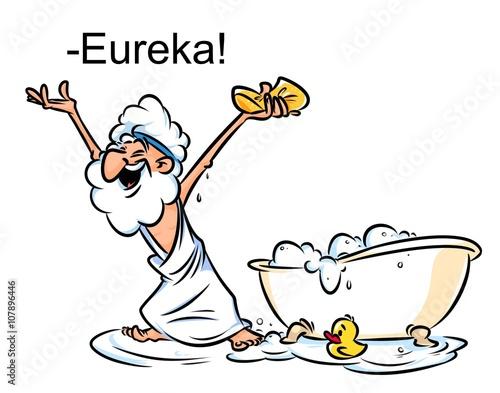 Archimedes Eureka swimming bath cartoon illustration funny Greek Canvas Print