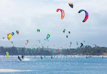 Kitesurfers Enjoying Wind Powe...