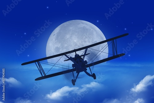 Fototapeta Full Moon Airplane Getaway