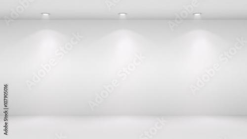 3D illustration of blank wall lighted by spotlights Wallpaper Mural