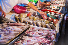 Different Kinds Of Seafood At Fish Market