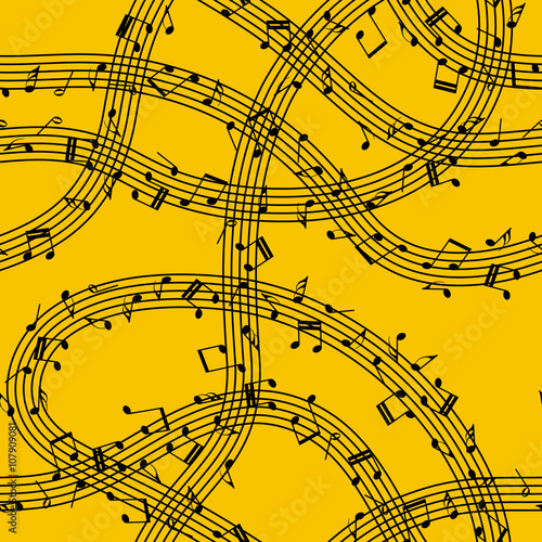 Cotton fabric Flow of music. Music waves. Swirl of notes. Seamless pattern on orange background