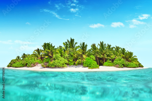 Canvas Prints Green coral Whole tropical island within atoll in tropical Ocean.