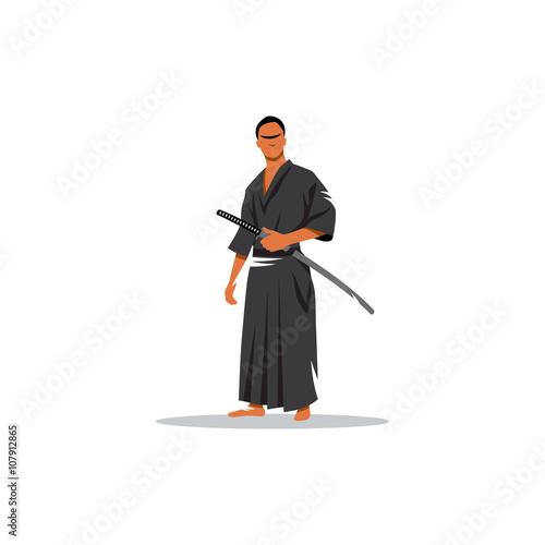 Foto  Samurai Warrior With Katana Sword. Vector Illustration.