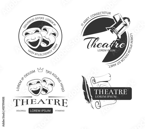 Vintage vector theatre labels, emblems, badges and logo Fotobehang