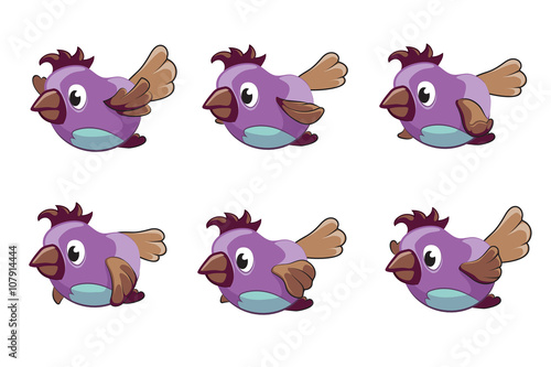 Bird animation vector frames. Animation bird, animal fly animation ...