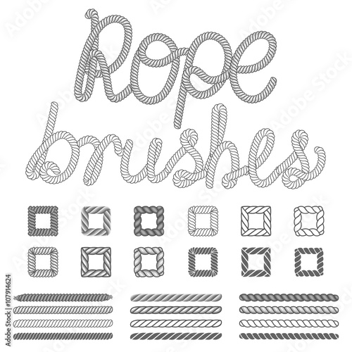 Fotografía  Rope nautical vector pattern brushes set