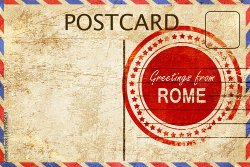 Fényképezés  rome stamp on a vintage, old postcard