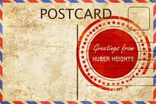 Huber Heights Stamp On A Vintage, Old Postcard