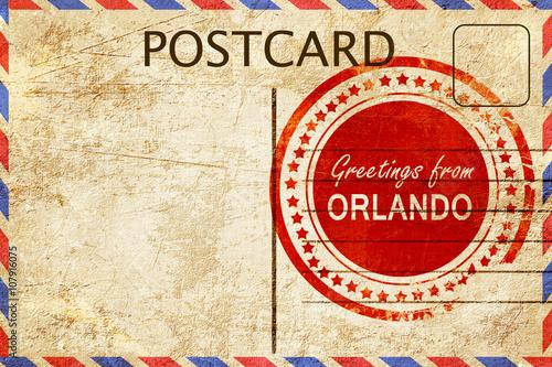 orlando stamp on a vintage, old postcard Tapéta, Fotótapéta