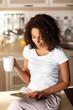 Pleasant girl drinking tea