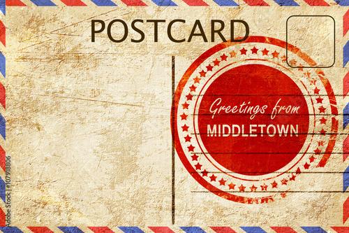 middletown stamp on a vintage, old postcard Wallpaper Mural