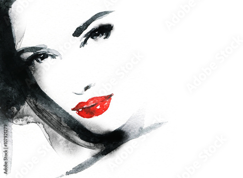 Photo  Woman face. Fashion  illustration