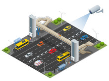 Isometric Pedestrian Bridge With A Lift Over The Highway. Set Of The Isometric Pedestrian Bridge With A Lift, Bus, Sedan, Taxi, Cargo, Mini, Ambulanse And Bus Stop. Vector Illustration.