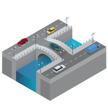 Road And Bridge Over The River. City Traffic. Bridge Flat 3d Isometric Vector Illustration. Isometric Bridge Over The River. Commercial Transport. Various Types Of Load And Cargo.