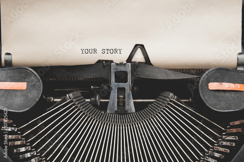 Fotografie, Obraz  Your Story? question printed on an old typewriter.