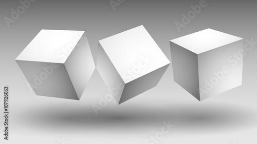 Fototapeta białe sześciany wektor obraz