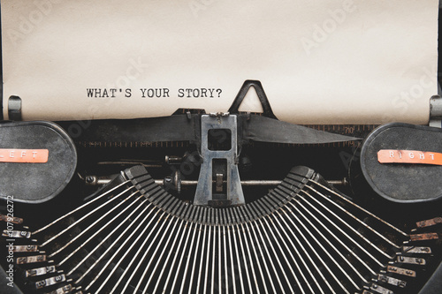 Foto  What's Your Story? question printed on an old typewriter.