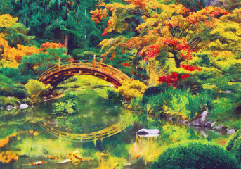 Fototapeta Japanese garden with bridge over a pond. Digital imitation of impressionism oil painting.
