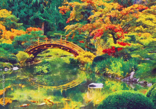 Japanese garden with bridge over a pond. Digital imitation of impressionism oil painting. - 107926447
