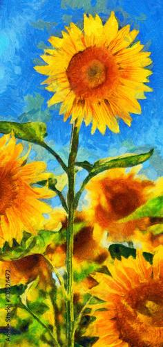 Obraz na płótnie Imitacja stylu Sunflowers.Van Gogh. Cyfrowa imitacja malarstwa olejnego po impresjonizmie.