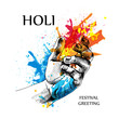 The Holi poster with image of the hands in colors. Vector illustration.