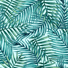 Panel Szklany Podświetlane Do pokoju Watercolor tropical palm leaves seamless pattern. Vector illustration.