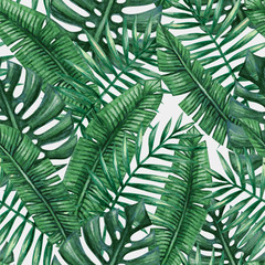 Tapeta Watercolor tropical palm leaves seamless pattern. Vector illustration.