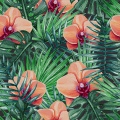 Fototapeta Florystyczny Watercolor orchid flower and palm leaves seamless pattern. Vector illustration.