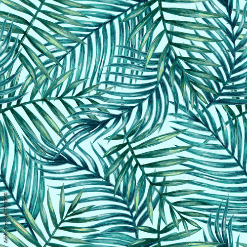 Spoed Fotobehang Tropische Bladeren Watercolor tropical palm leaves seamless pattern. Vector illustration.