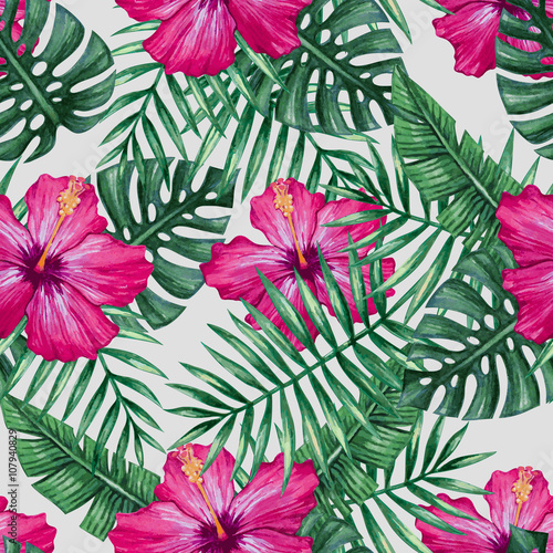 watercolor-orchid-flower-and-palm-leaves-seamless-pattern