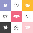Dove. Set of elegant vector icons and logos