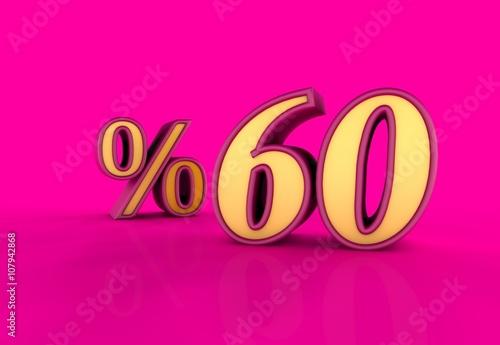 Fotobehang Roze Yüzde, 60, 3D Tipografi
