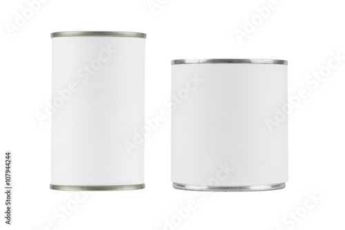 Cuadros en Lienzo tin can with blank white label on white background