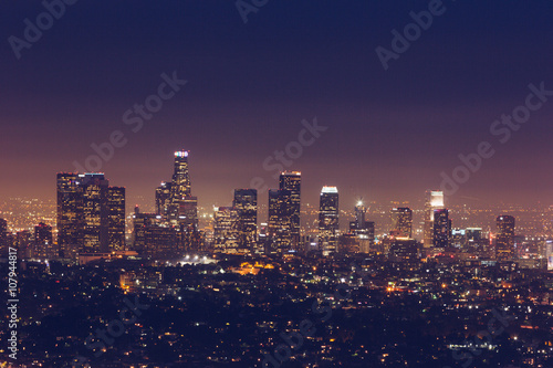 Photo  skyline of Los Angeles at night