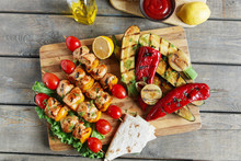 Chicken Kebab Skewer With Grilled Vegetables Barbecue
