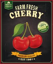 Vintage Farm Fresh Cherry Poster Design
