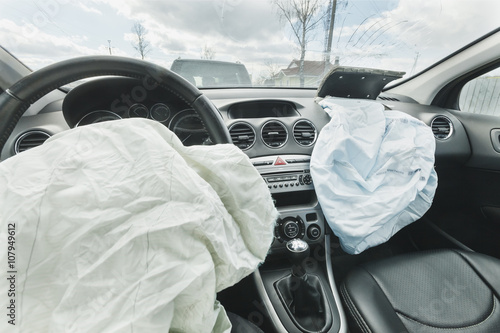 Photo Car Crash air bag, blue,  inscription airbag