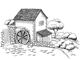 NaklejkaWater mill graphic art black white landscape illustration vector