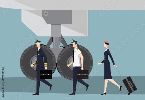 Photo Aircrew. Captain, First Officer and Hostess Going To Aircraft.