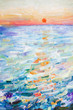 picture in oil on canvas, seascape, sea surface in the sun