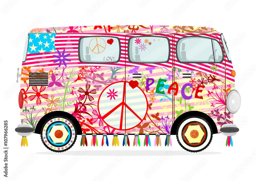 hippie bus zum ausmalen  malvorlagen