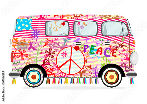 Fototapeta Funny cartoon hippie bus on a white background Flat vector