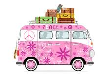 Funny Cartoon Hippie Bus On A ...