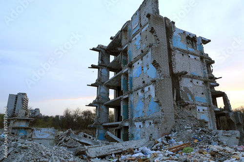 Photo Stands Ruins Lost house. Ruines