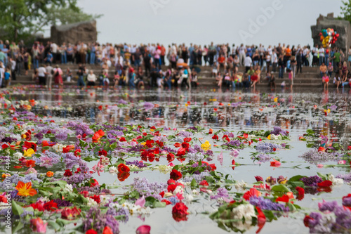 Canvas Prints Seoul Flowers floating in the the Lake of Tears on Mamaev hill in Volgograd