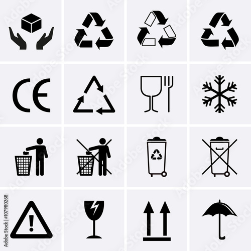 Recycling Icons Waste Recycling Packaging Symbols Buy This