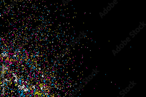 Obraz Colorful confetti vector on black backgroung. Grainy abstract random texture design element. Colorful party background with glitter, sprinkles and space for your text on black. Distress.  - fototapety do salonu