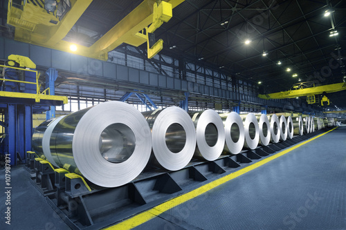 Vászonkép Packed rolls of steel sheet, Cold rolled steel coils